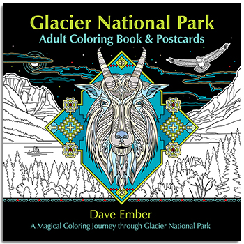 Glacier National Park Adult Coloring Book and Postcards align=